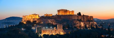 Acropolis historical ruins panorama at sunset viewed from mountain, Greece