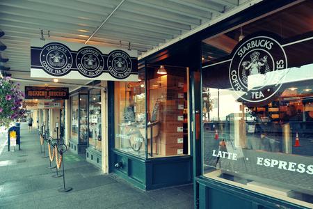 SEATTLE, WA - 14. August: Der erste Starbucks Coffee Shop am 14. August 2015 in Seattle. Seattle ist die größte Stadt im Bundesstaat Washington und im pazifischen Nordwesten Nordamerikas North