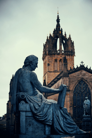 St Giles Cathedral with David Hume statue as the famous landmark of Edinburgh. United Kingdom.