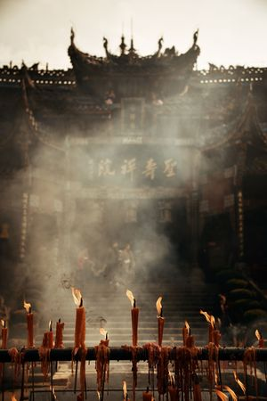 Temple and candle in Dazu in Chongqing China 스톡 콘텐츠