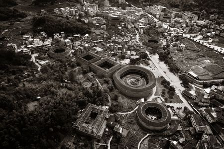 Aerial view of Tulou, the unique dwellings of Hakka in Fujian, China. 스톡 콘텐츠 - 127361159