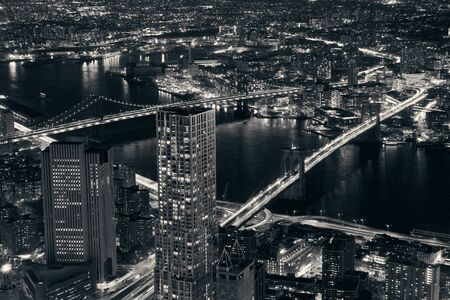Rooftop night view of New York City downtown with urban skyscrapers 写真素材 - 129572088