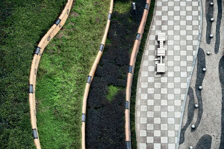 Abstract pattern of walk way by Yangtze River viewed from above in Chongqing China