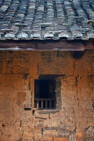 Window closeup in traditional Tulou building in Fujian, China.