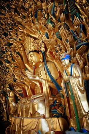 Guanyin statue in Dazu Rock Carvings as the World Heritage Site located in suburb Chongqing, China