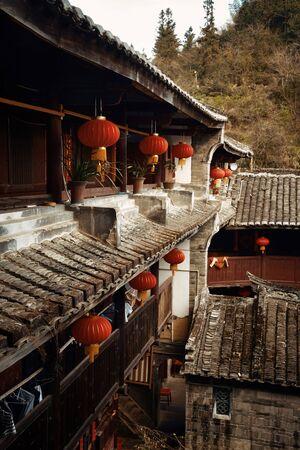 Courtyard of Hakka traditional buildings in Fujian, China. 스톡 콘텐츠