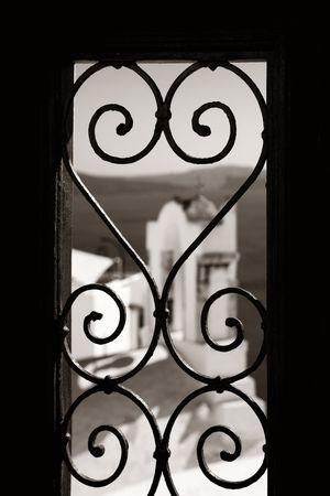 Window pattern in Santorini island in Greece.