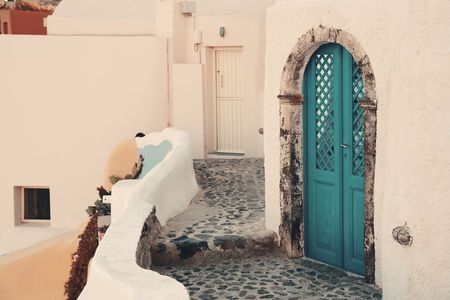 Santorini island door and street in Greece.