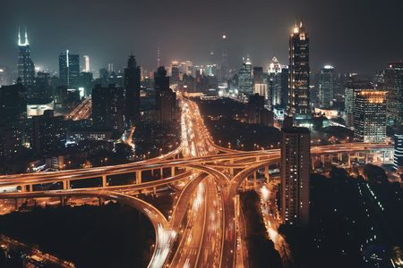 Shanghai Yanan Road overpass bridge at night with heavy traffic in China.