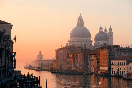 Church Santa Maria della Salute and Grand Canal view before sunrise, Venice, Italy. Archivio Fotografico