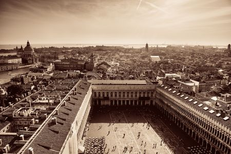 Rooftop view from the bell tower of historical buildings at Piazza San Marco in Venice, Italy. Stock Photo