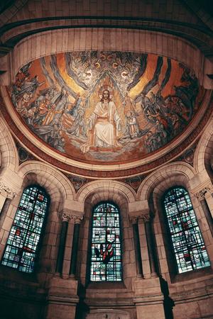 Sacre Coeur Cathedral interior in Paris, France.