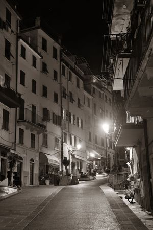 RIOMAGGIORE - MAY 22: street night view on May 22, 2016 in Riomaggiore, Italy. Riomaggiore is one of the five villages in Cinque Terre, a major tourism attraction and UNESCO World Heritage Site.