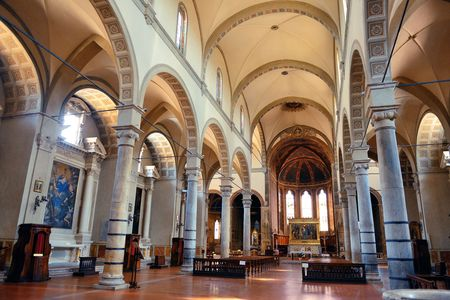 Church interior view in old medieval town Siena in Italy