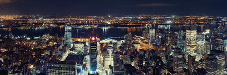 New York City west side at night with urban cityscape panorama view. 免版税图像