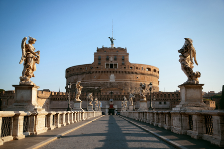 Castel Sant Angelo angel statue closeup in Rome, Italy.