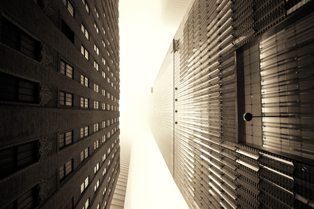NEW YORK CITY - NOV 12: Downtown skyscrapers in a foggy day on November 12, 2014 in Manhattan, New York City. With population of 8.4M, it is the most populous city in the United States. Editöryel