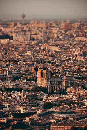 Paris city rooftop tilt-shift view at sunset.