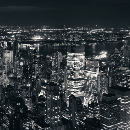 New York City west side urban cityscape view at night.