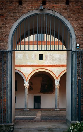 Archway in Landmark Sforza Castle in Milan, Italy.