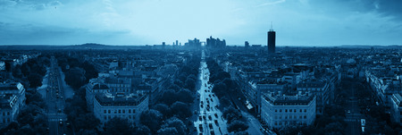 Paris rooftop view of the city skyline with la Defense business district in France. Stok Fotoğraf