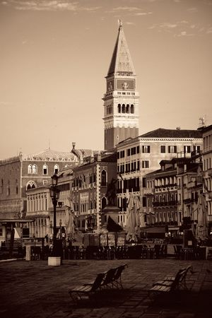 St Marks church clock tower and street in Venice, Italy. Stok Fotoğraf