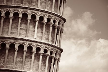 Leaning tower closeup view in Pisa, Italy as the worldwide known landmark. Stok Fotoğraf