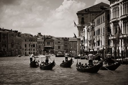 A group of gondola in canal in Venice, Italy.