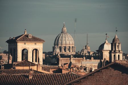 Rooftop view of Rome historical architecture and city skyline. Italy. Stok Fotoğraf