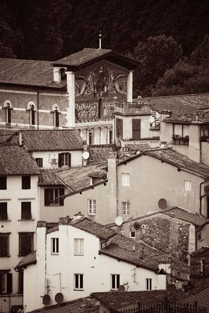 Lucca viewed from above in Italy. Stok Fotoğraf