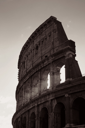 Colosseum is the symbolic architecture of Rome and Italy in monochrome Stok Fotoğraf