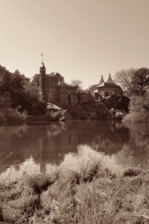 Belvedere Castle and Autumn foliage with lake in Central Park, midtown Manhattan New York City