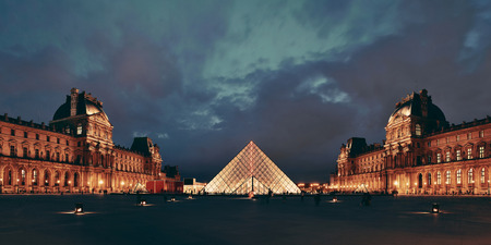 PARIS, FRANCE - MAY 13: Louvre closeup view on May 13, 2015 in Paris. With over 60k sqM of exhibition space, Louvre is the biggest Museum in Paris. Editöryel
