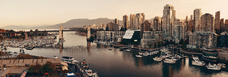 VANCOUVER, BC - AUG 17: Vancouver bay aerial view on August 17, 2015 in Vancouver, Canada. With 603k population, it is one of the most ethnically diverse cities in Canada. Editöryel