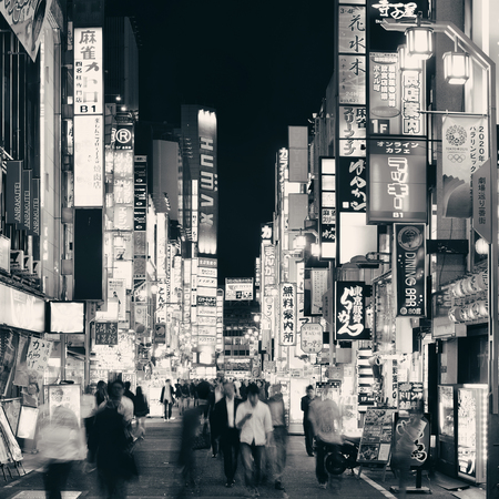 TOKYO, JAPAN - MAY 13: Shinjuku Street view at night on May 13, 2013 in Tokyo. Tokyo is the capital of Japan and the most populous metropolitan area in the world Editöryel