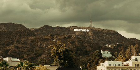 Los Angeles, CA - MAY 18: Hollywood sign on mountain on May 18, 2014 in Los Angeles. Originated as a real estate promotion, it is now the famous landmark of LA and US. Editöryel