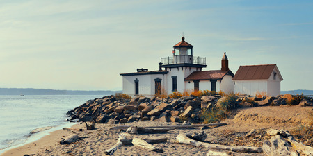 West point lighthouse in Seattle, WA. 스톡 콘텐츠