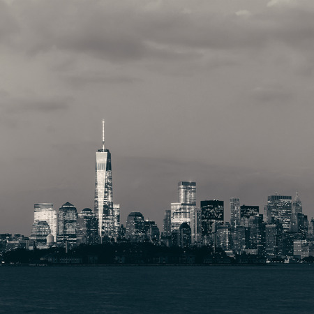 New York City downtown skyline panorama in BW at dusk 写真素材