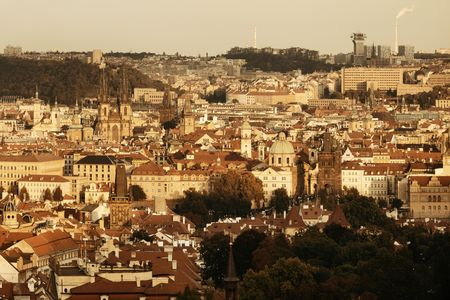 Prague skyline rooftop view with historical buildings in Czech Republic. 스톡 콘텐츠 - 127361067