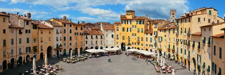 Piazza dell Anfiteatro in Lucca Italy panorama view