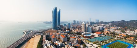XIAMEN, CHINA – FEB 16: Aerial panorama view of Shimao Twin Tower and city skyline on February 26, 2018 in Xiamen. Xiamen was ranked as Chinas 2nd-most suitable city for living 에디토리얼
