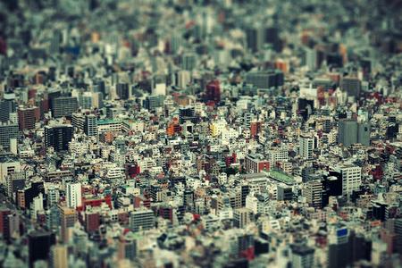Tokyo urban rooftop view background tilt-shift effect, Japan. Stockfoto