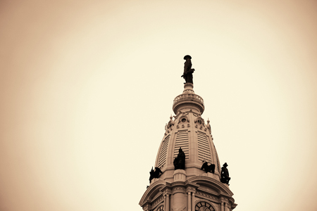 City Hall tower top closeup in Philadelphia.