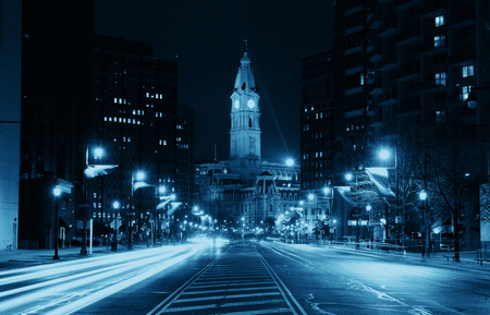 Philadelphia City Hall and street view at night Stock Photo