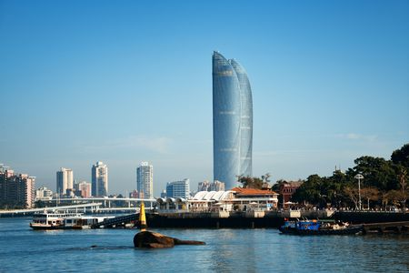 XIAMEN, CHINA – FEB 16: Shimao Twin Tower and city skyline on February 26, 2018 in Xiamen. Xiamen was ranked as Chinas 2nd-most suitable city for living