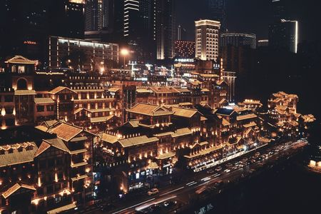 CHONGQING, CHINA – MARCH 13: Hongyadong shopping complex at night on March 13, 2018 in Chongqing. With 17M population, it is the most populous Chinese municipality. 에디토리얼