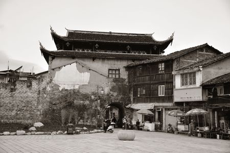 FUJIAN, CHINA – MARCH 2, 2018: Street view with historic architecture in Changting city in Fujian, China. 스톡 콘텐츠 - 127377096