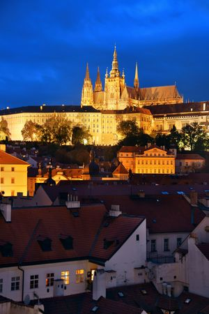 Prague Castle with Saint Vitus Cathedral in Czech Republic at night. 에디토리얼