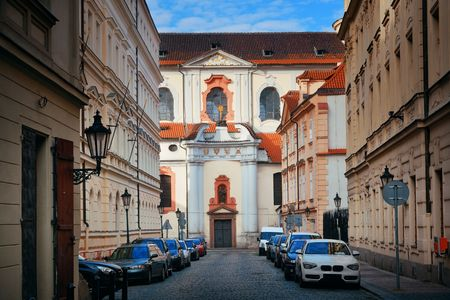 Street view with historical buildings in Prague Czech Republic 에디토리얼