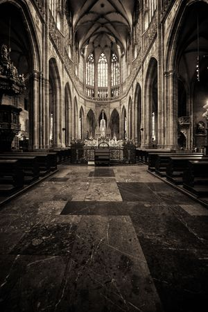 Interior view of St. Vitus Cathedral in Prague Castle Czech Republic